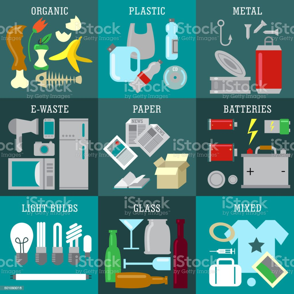 Waste types vector art illustration