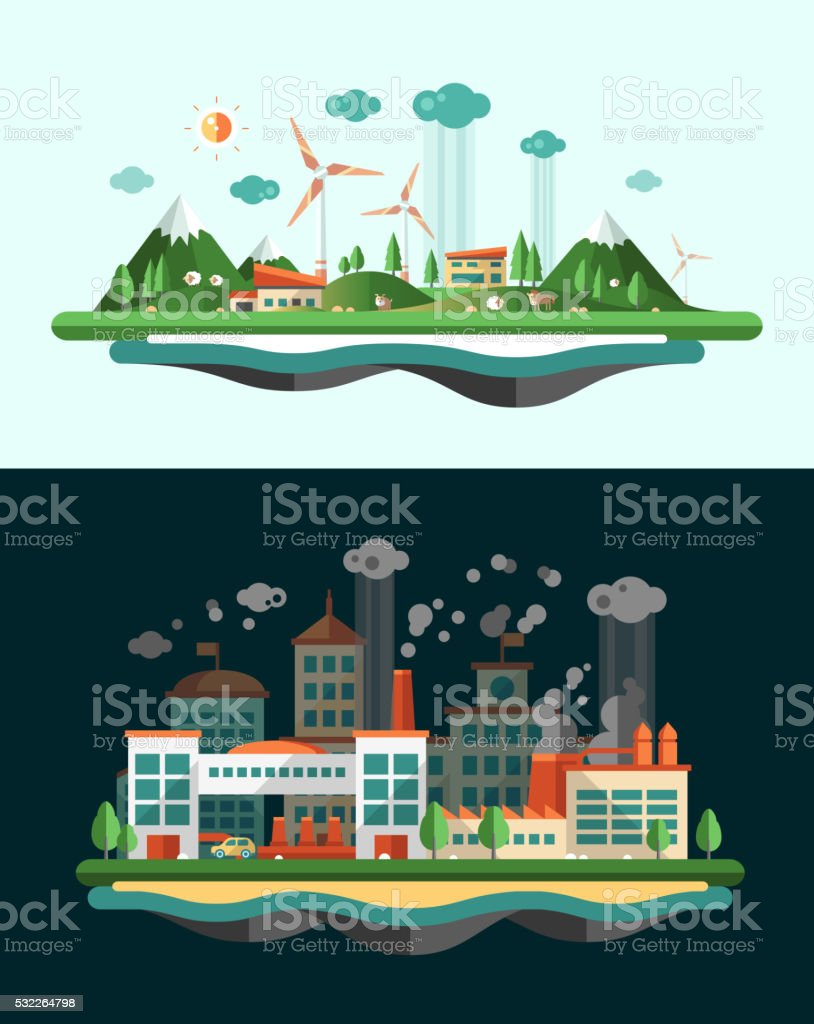 Wasted and green landscapes - ecological banners set vector art illustration