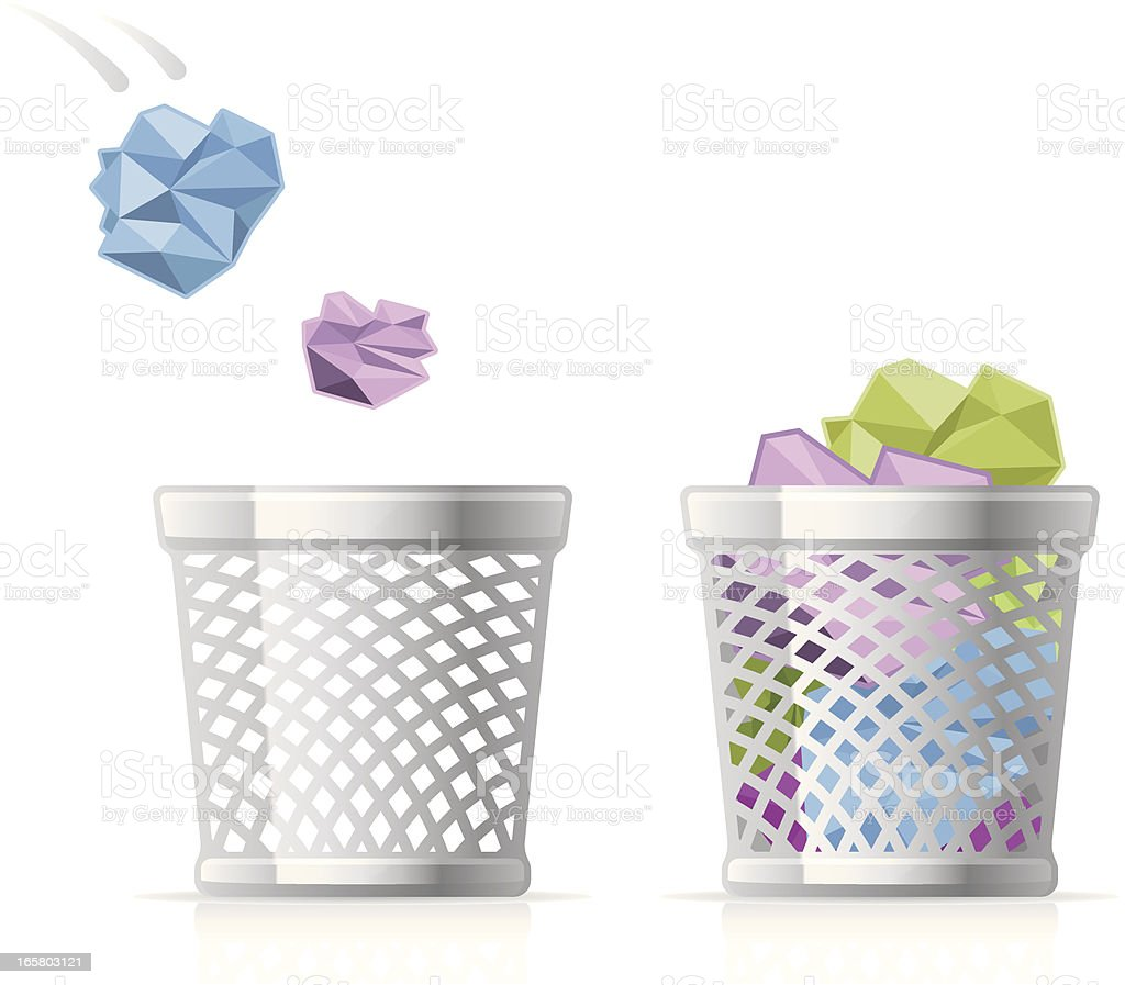 Wastepaper Basket icons vector art illustration
