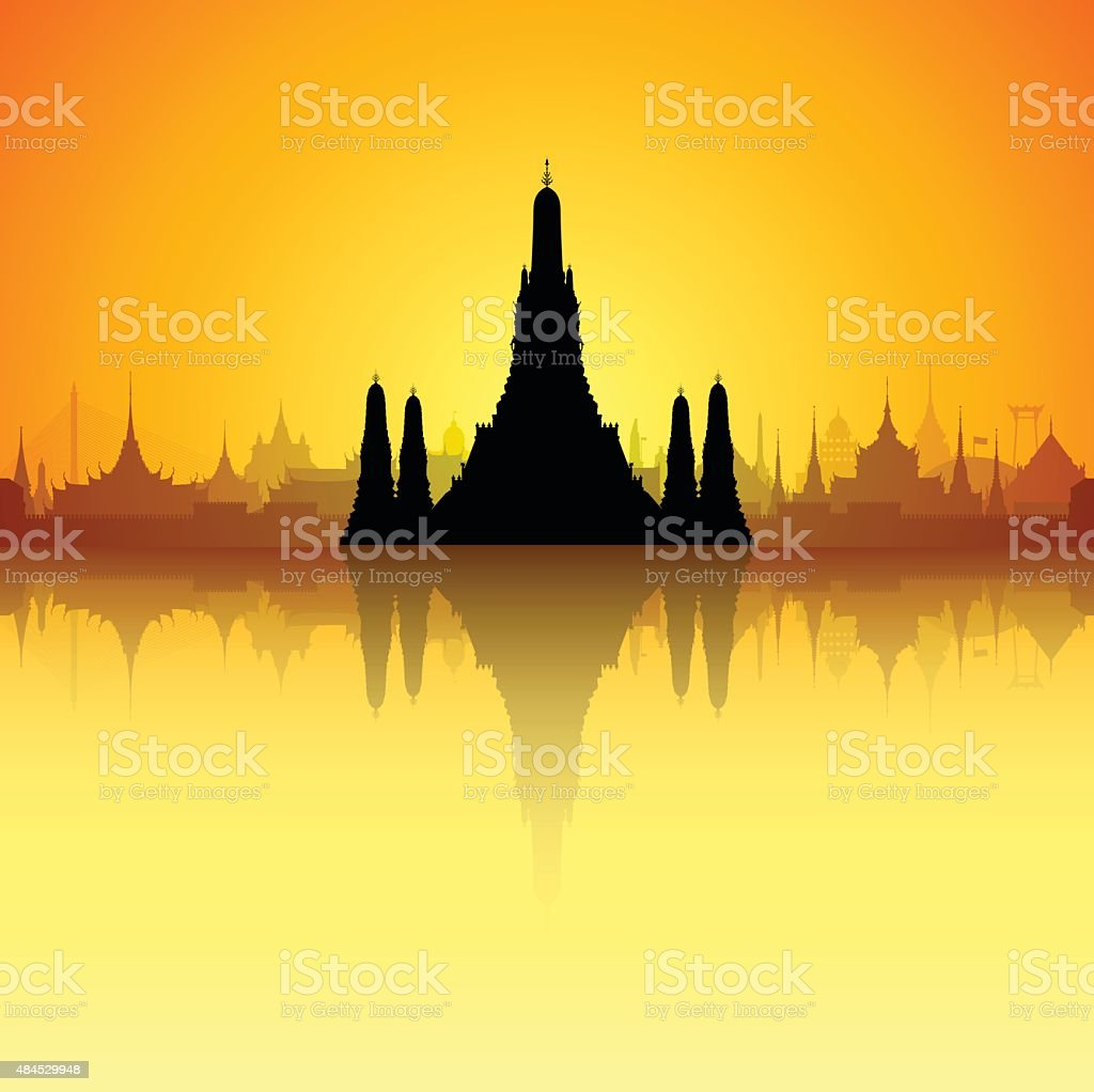 Wat Arun, Thailand (Complete, Detailed, Moveable Buildings) vector art illustration