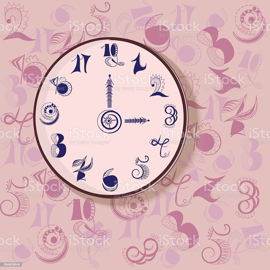Watch from abstract geometric blue numbers on a pink background royalty-free stock vector art
