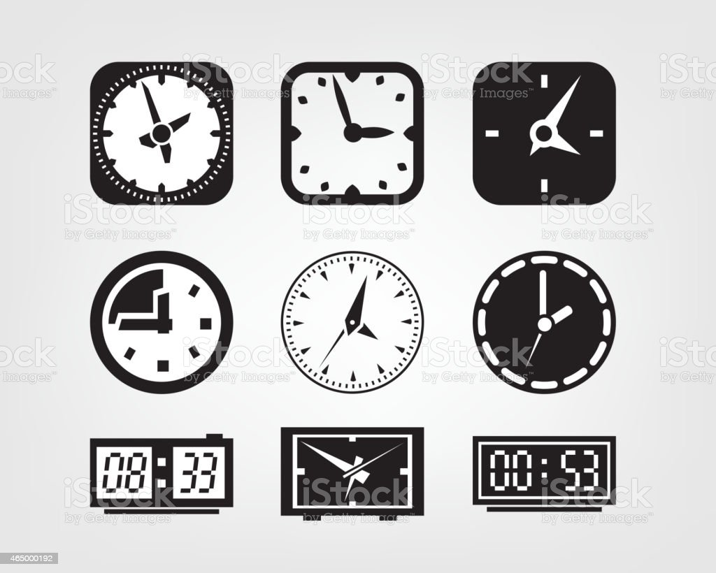 watch icons vector art illustration