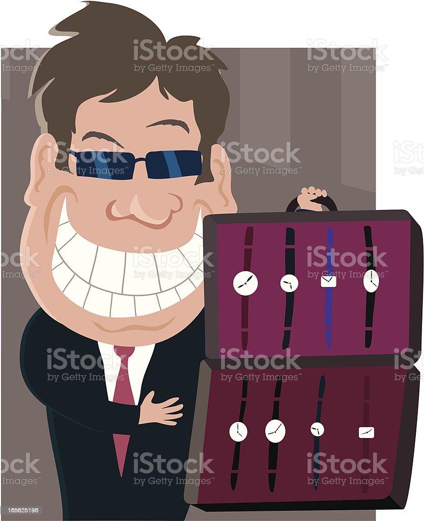 Watch Salesman vector art illustration