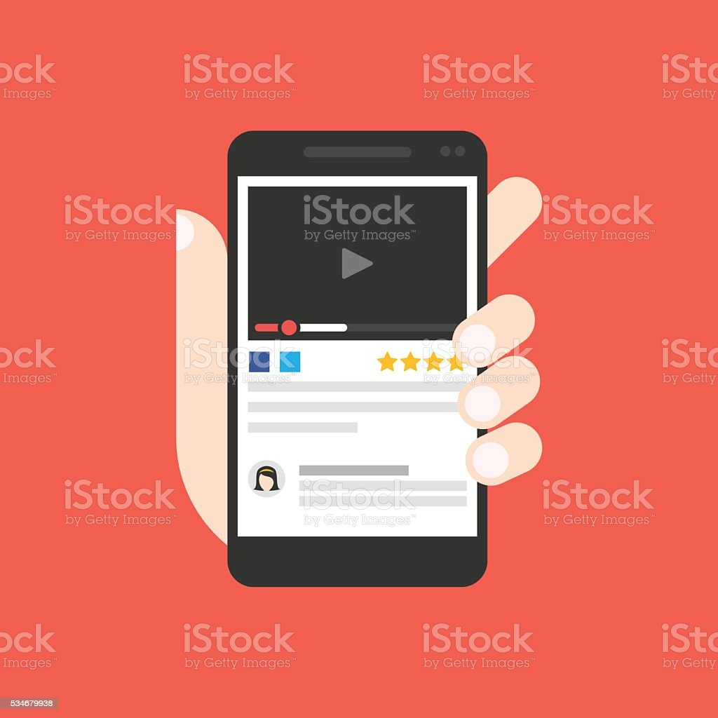 Watch video on smartphone screen stock photo