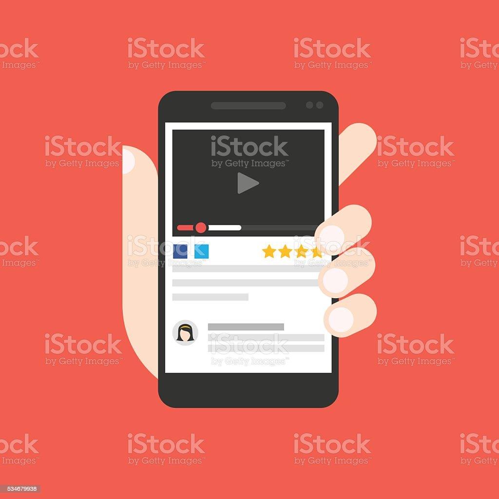 Watch video on smartphone screen vector art illustration