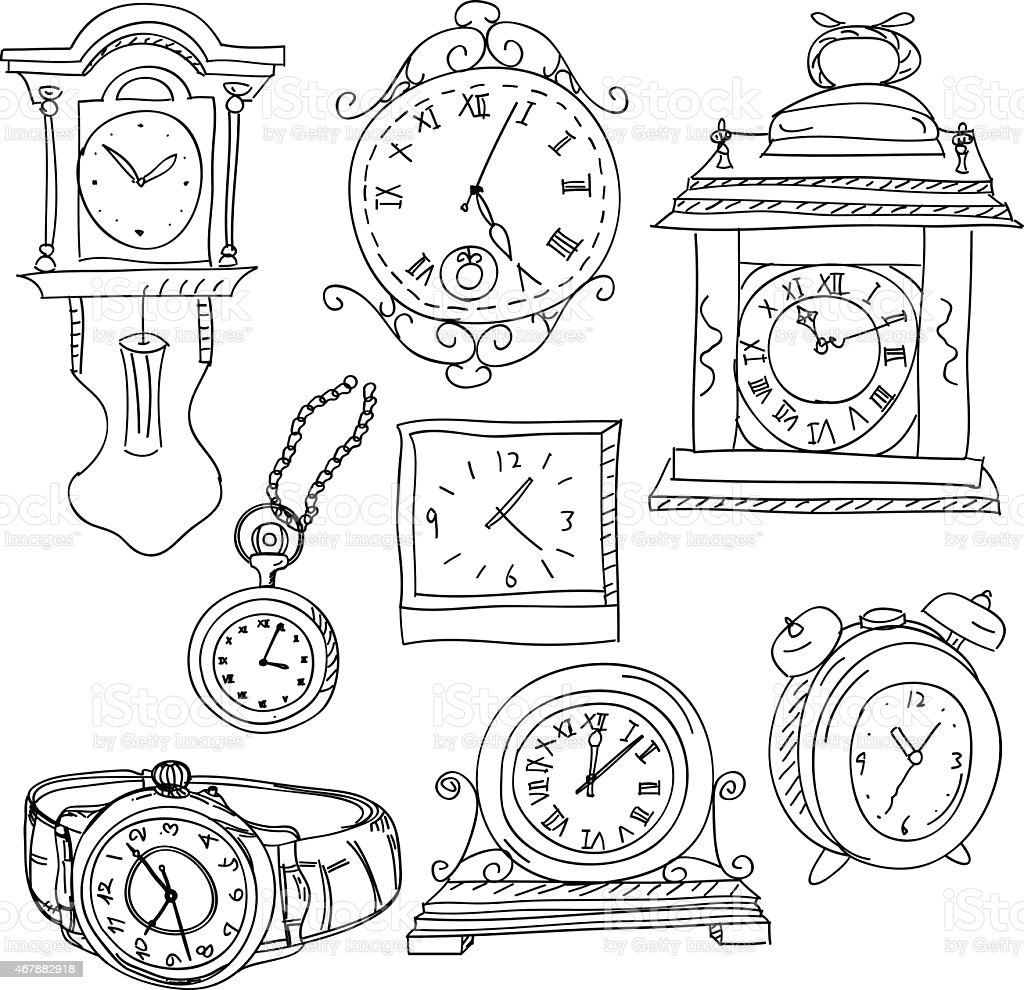 Watches and Clocks Collection vector art illustration
