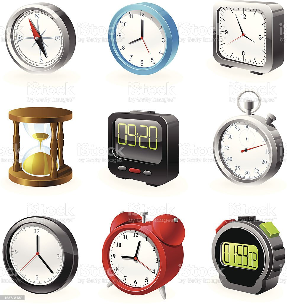 Watches Icon Set royalty-free stock vector art