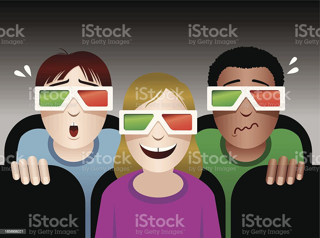 Watching a 3D Movie royalty-free stock vector art