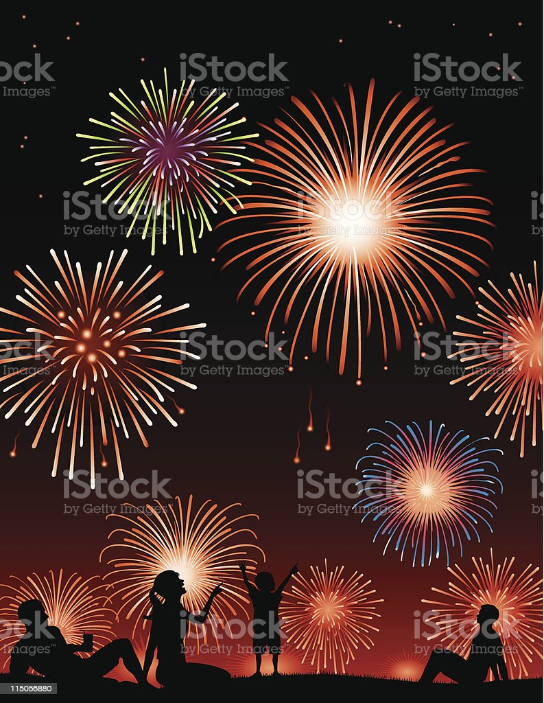 Watching fireworks royalty-free stock vector art