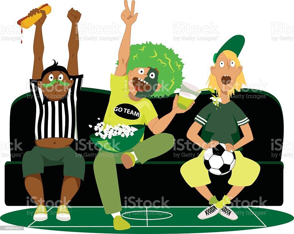 Watching football game vector art illustration