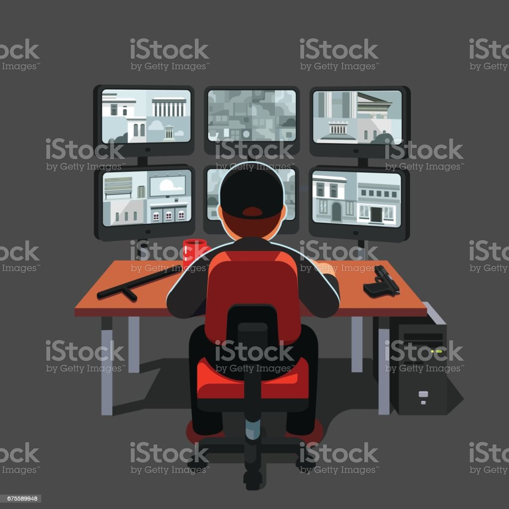 Watchman sitting at security room monitoring video vector art illustration