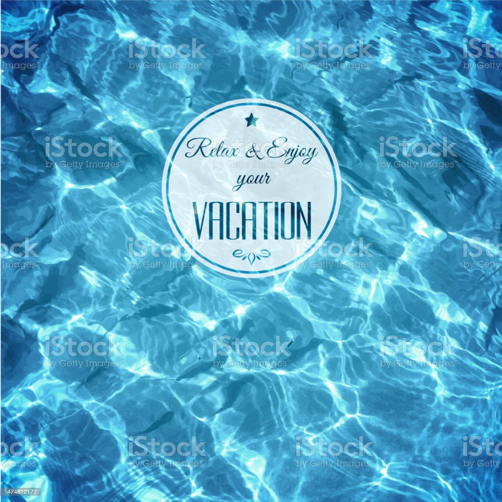 Water background with label vector art illustration