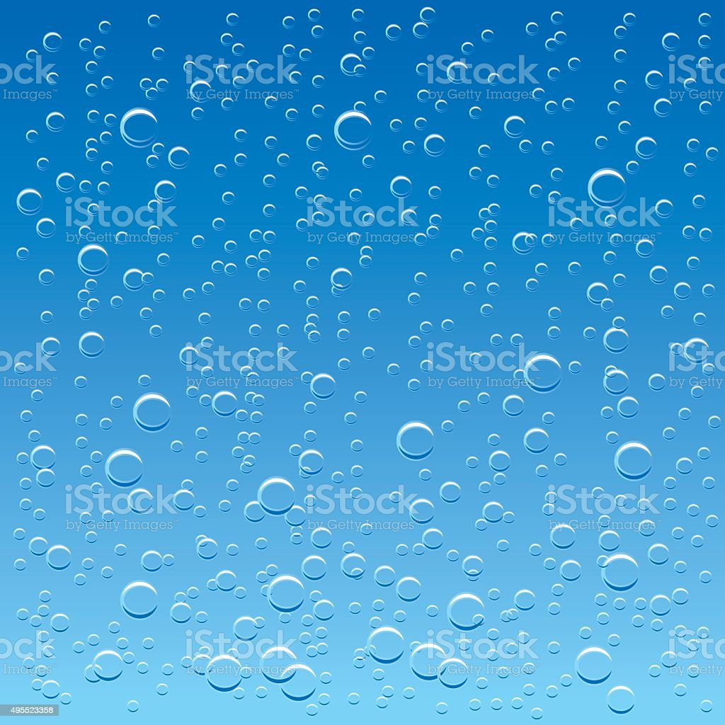 water background with rising air bubbles vector art illustration