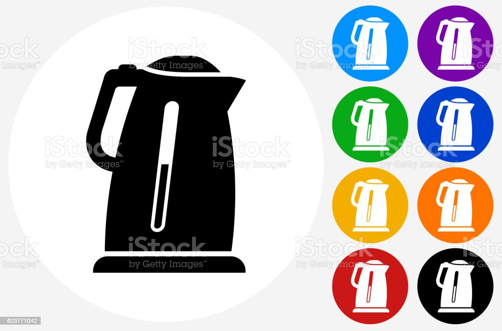 Water Boiler Icon on Flat Color Circle Buttons vector art illustration