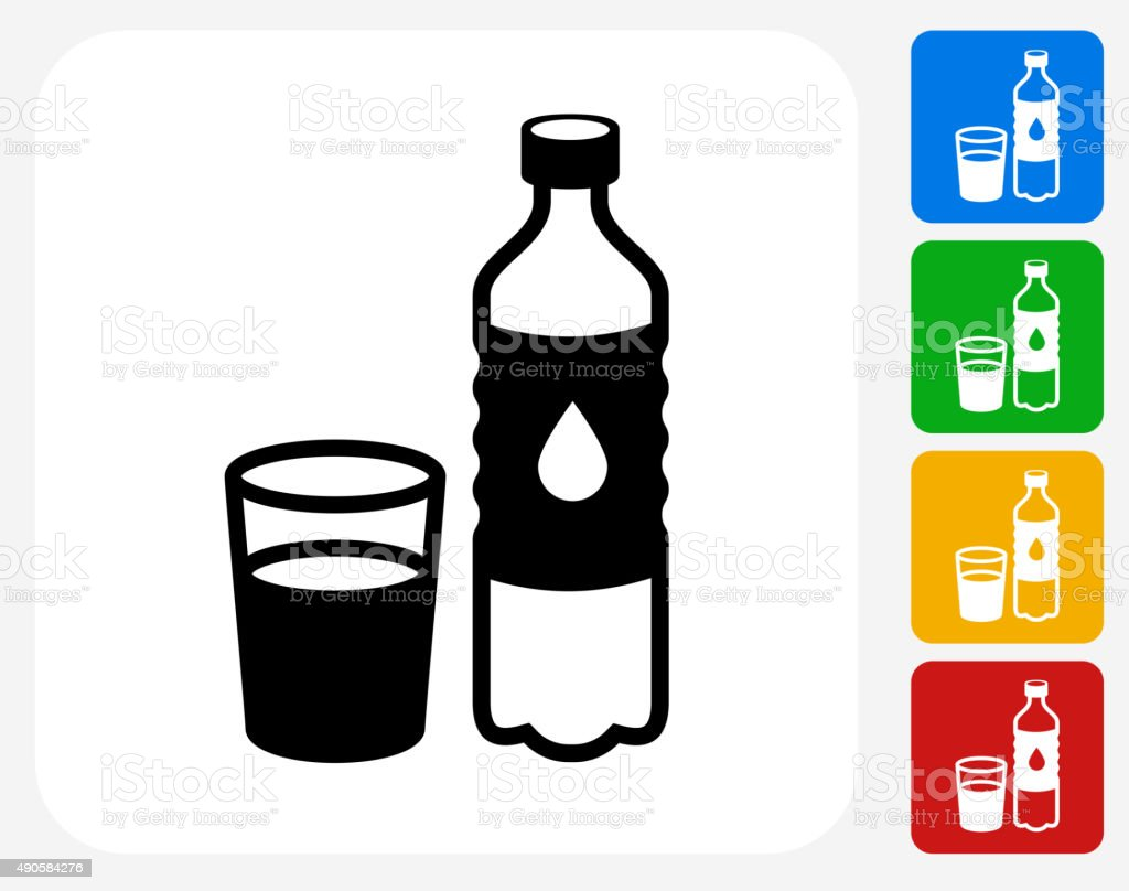 Water Bottle and Glass Icon Flat Graphic Design vector art illustration