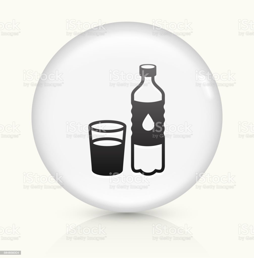 Water Bottle and Glass icon on white round vector button vector art illustration