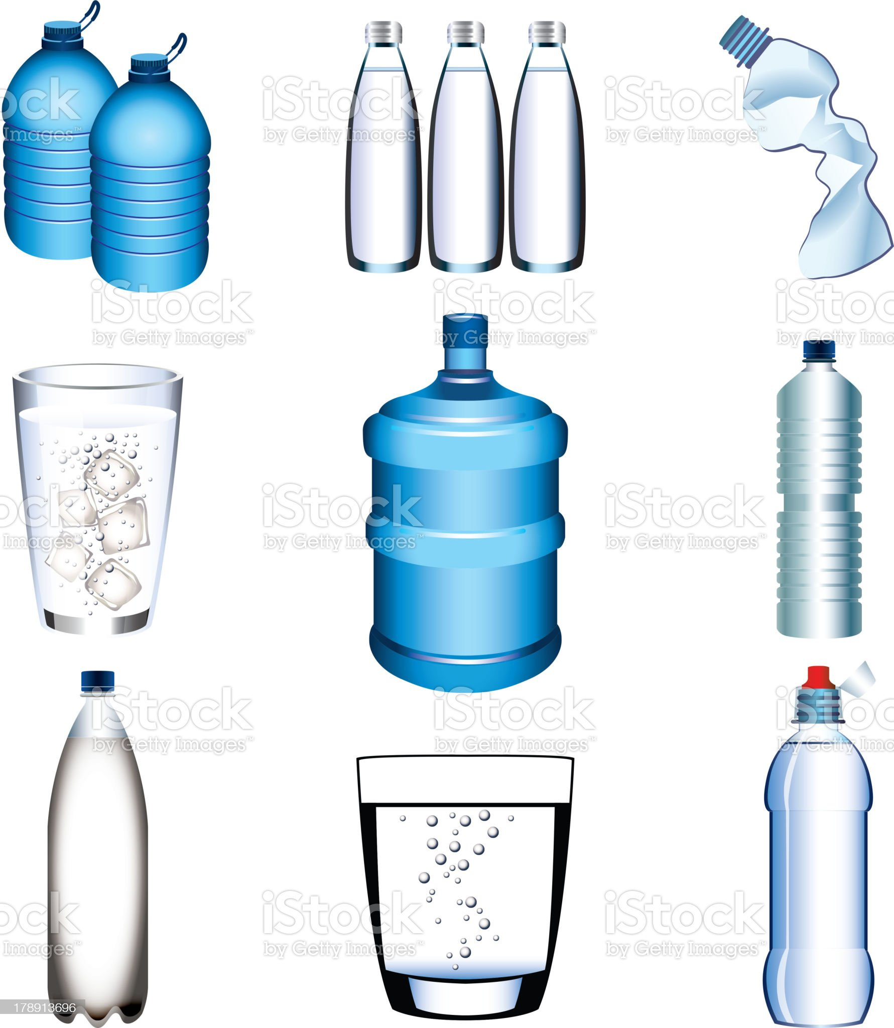 water bottle and glasses vector set royalty-free stock vector art