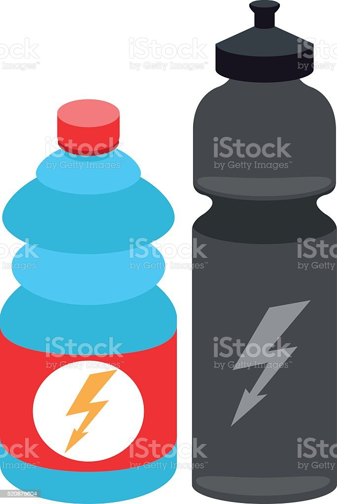 Water bottles for athletes, sports equipment. vector art illustration