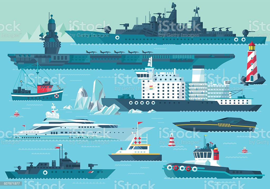 water carriage and maritime transport vector art illustration