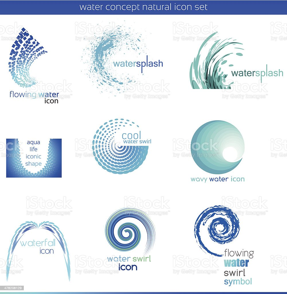 Water concept icon set vector art illustration