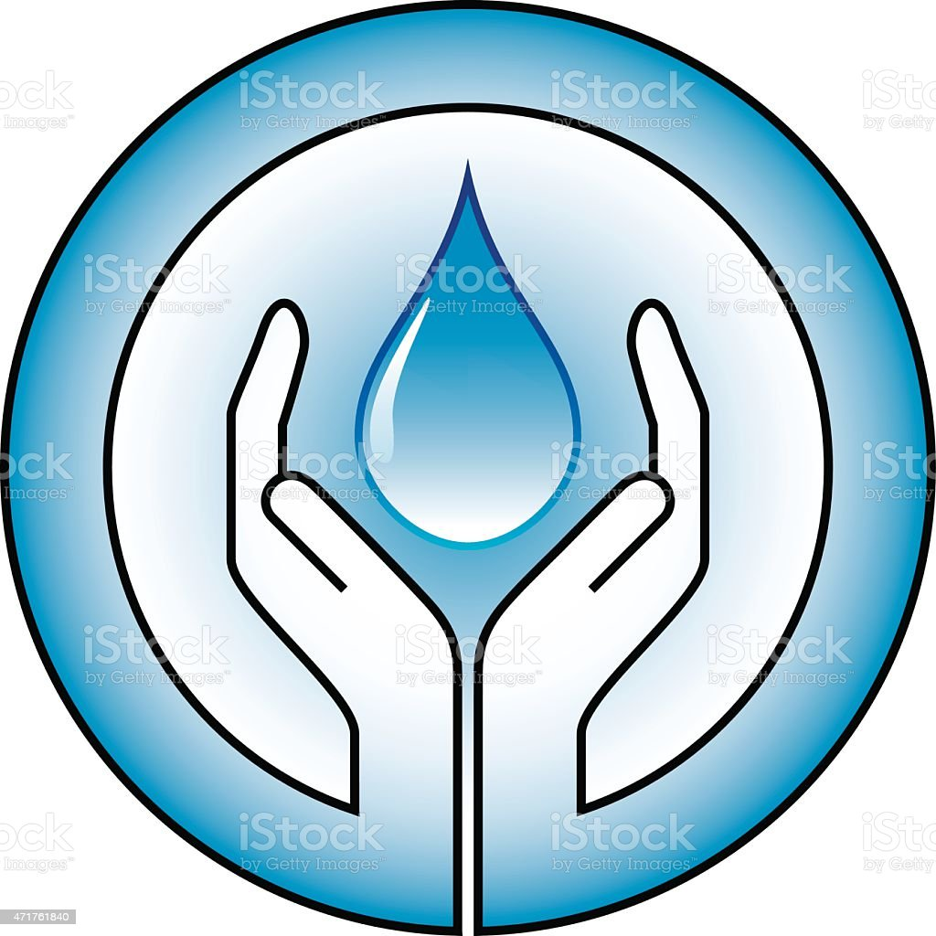 Water conservation (waterdrop and hands) vector art illustration