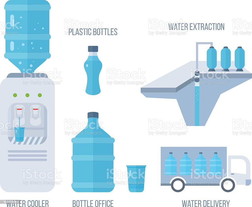 Water cooler. Bottle office, plastic and liquid. vector art illustration