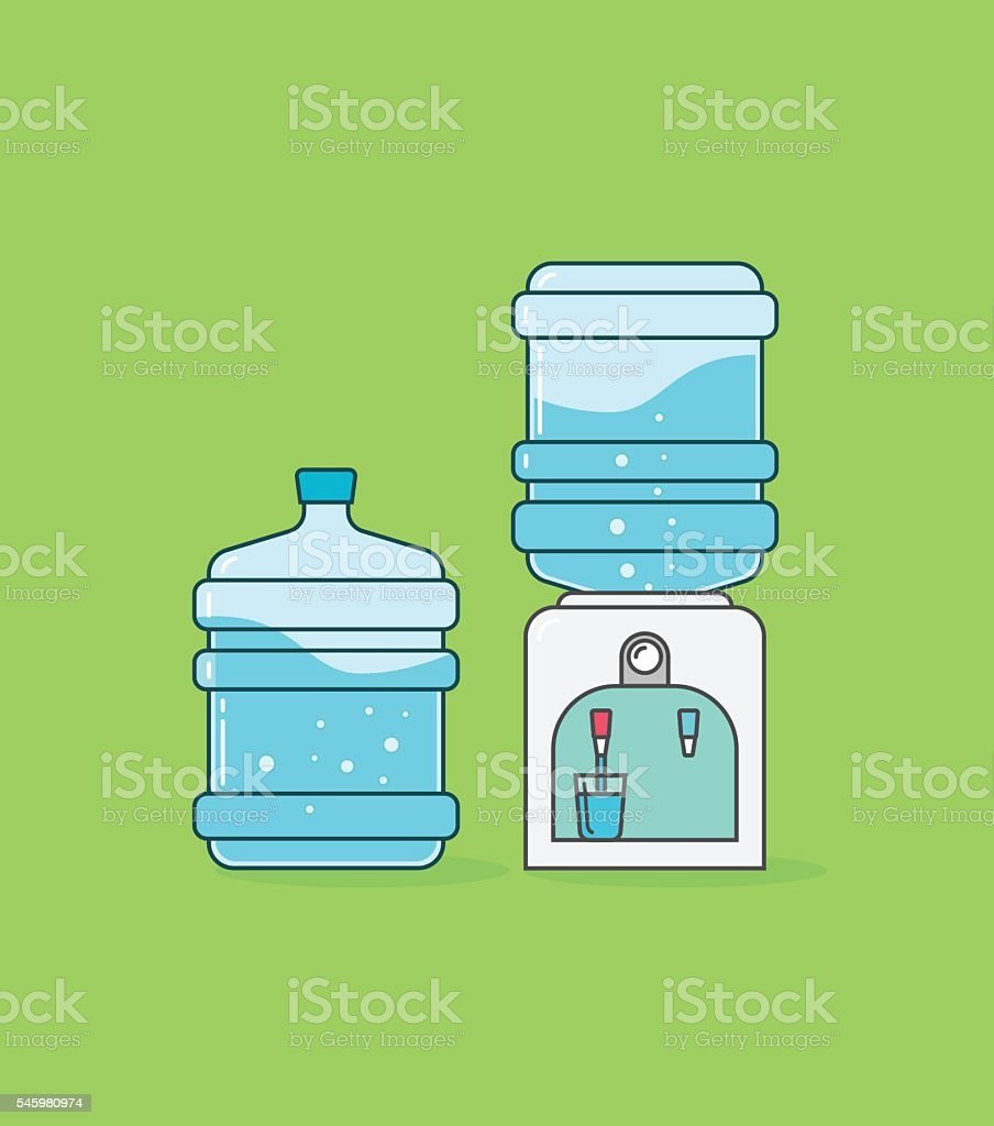 Water cooler dispenser vector, bottle with waves and bubbles vector art illustration
