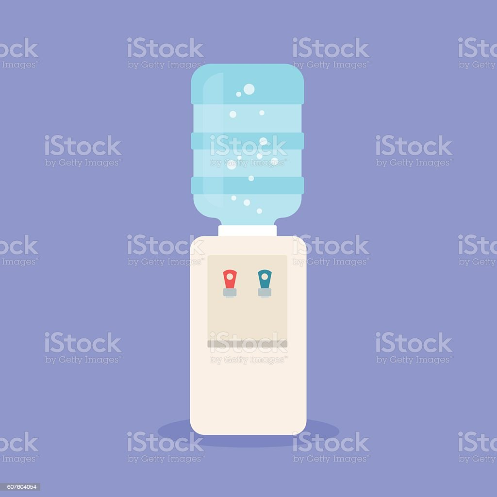 Water cooler with blue full bottle vector art illustration