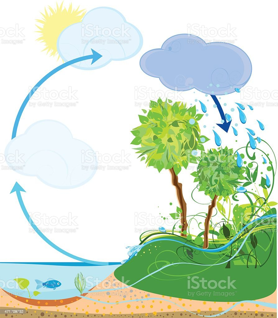 Water cycle in nature vector art illustration