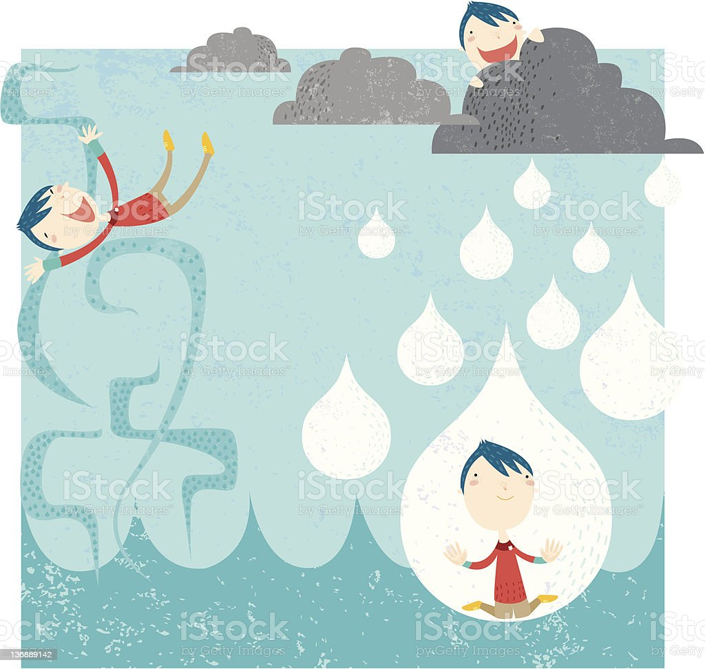 water cycle vector art illustration