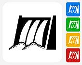 Water Dam Icon Flat Graphic Design