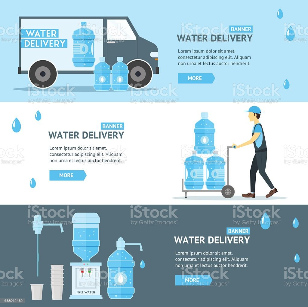 Water Delivery Service Banner Flat . Vector vector art illustration