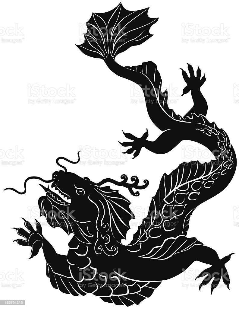 Water Dragon Silhouette vector art illustration