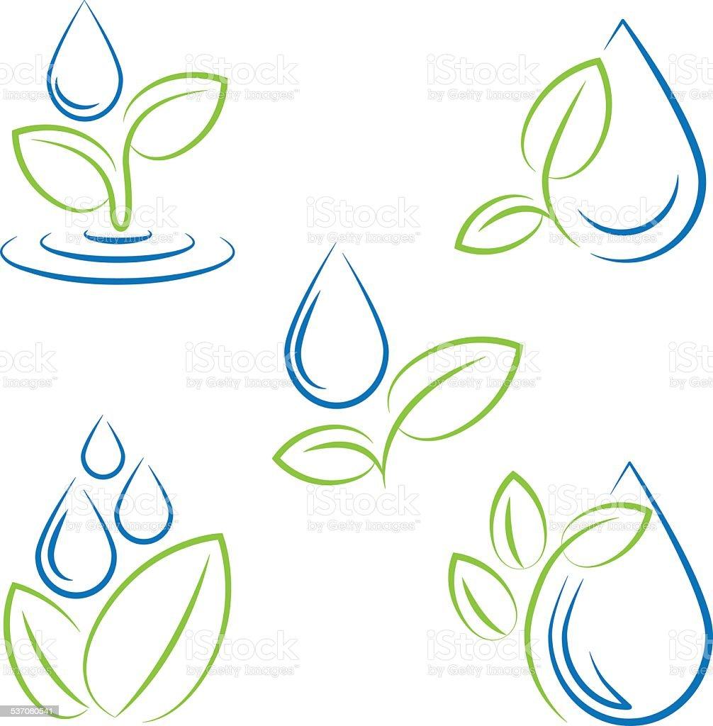 Queda d'água e folha de símbolo vetor definido vetor e ilustração royalty-free royalty-free