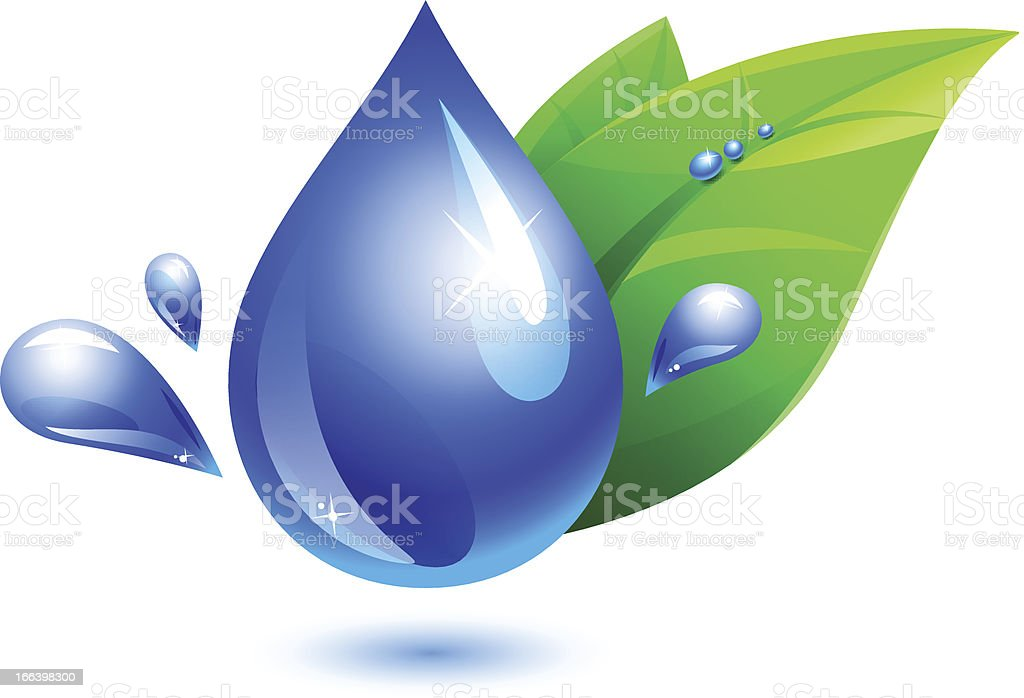 water drop and leaf royalty-free stock vector art