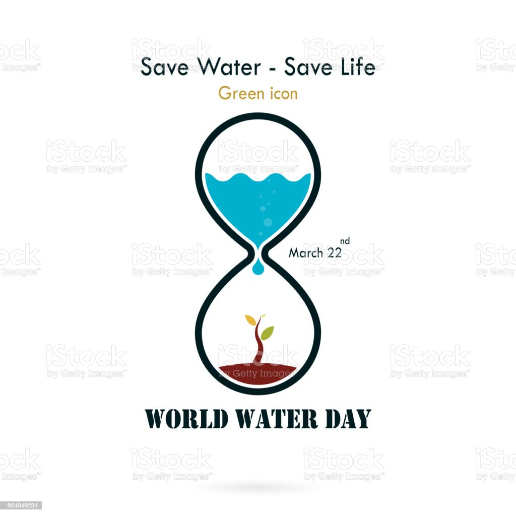 Poster design on save water - Water Drop And Sandglass Icon With Small Tree Icon Vector Logo Design Template World Water
