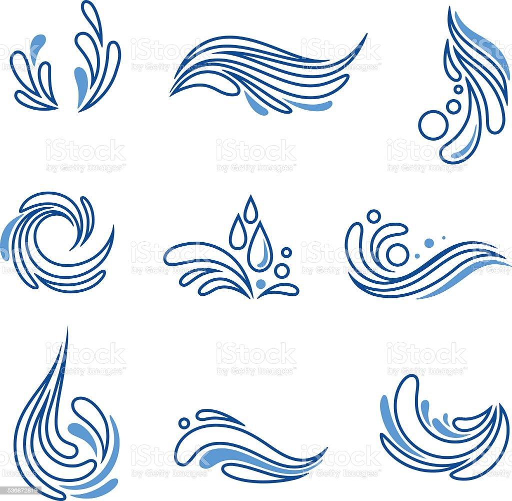 Queda d'água e splash eco ícone de vetor definido vetor e ilustração royalty-free royalty-free