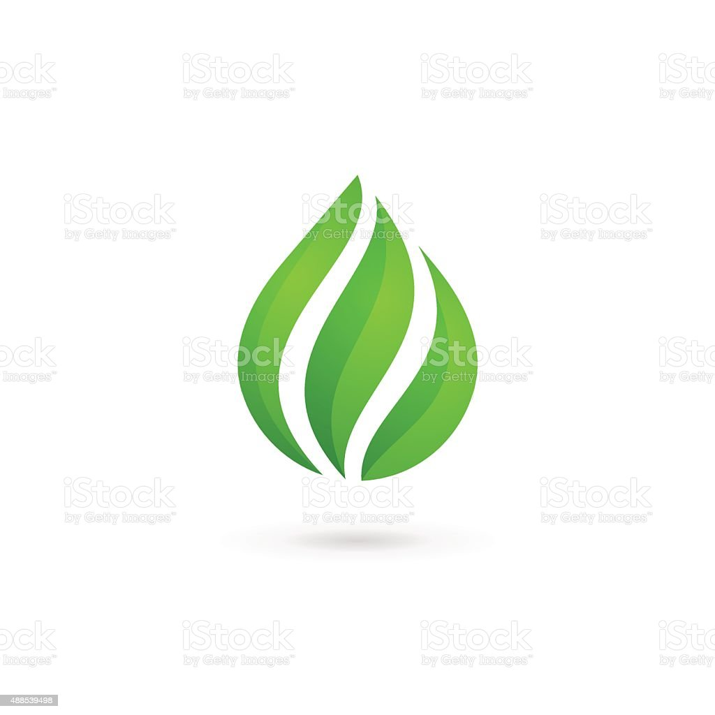 Water drop eco leaves design template icon vector art illustration
