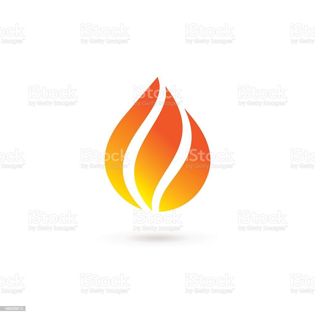 Water drop fire design template icon vector art illustration