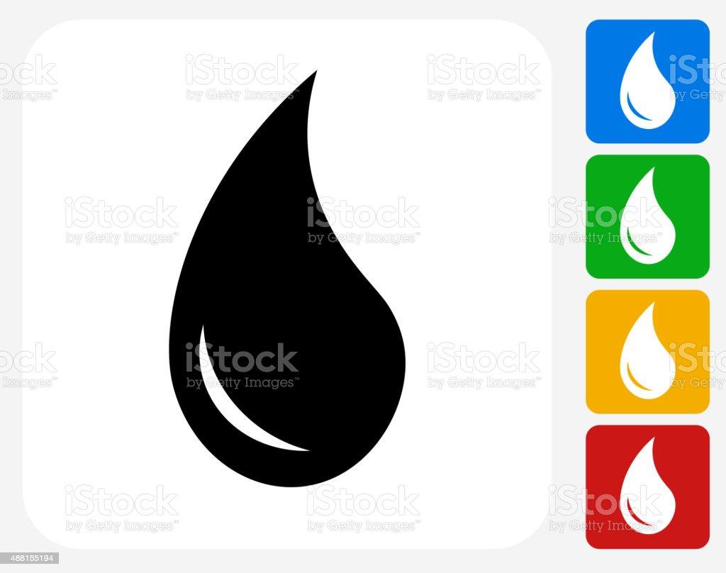 Water Drop Icon Flat Graphic Design vector art illustration
