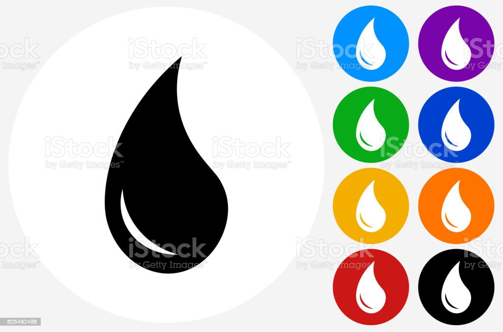 Water Drop Icon on Flat Color Circle Buttons vector art illustration