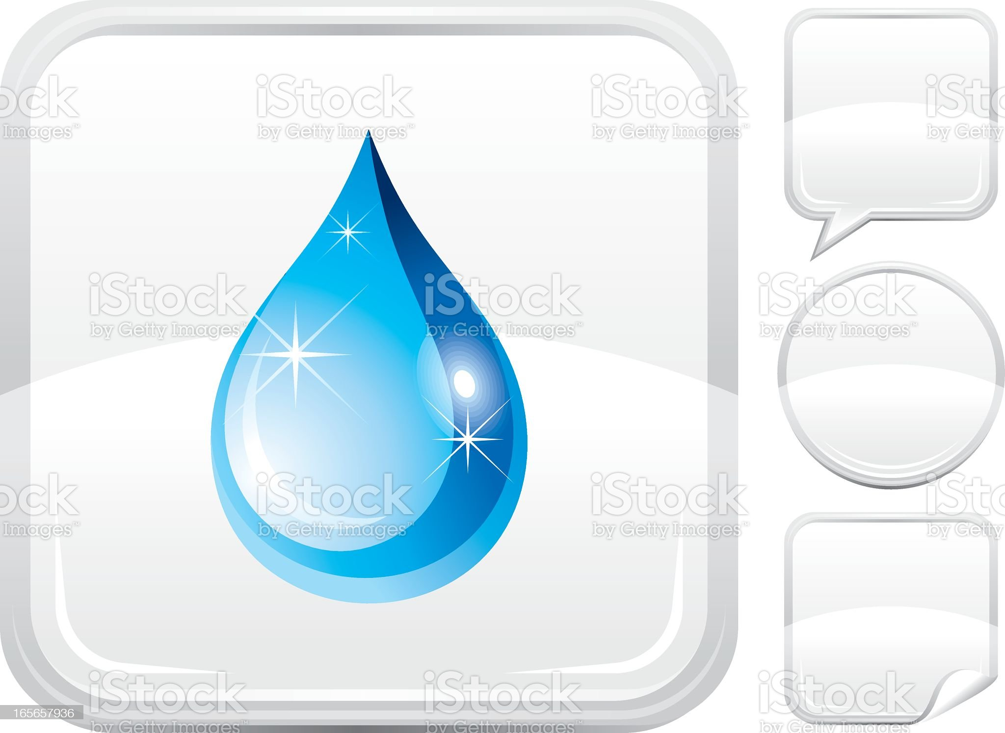 Water drop icon on silver button royalty-free stock vector art