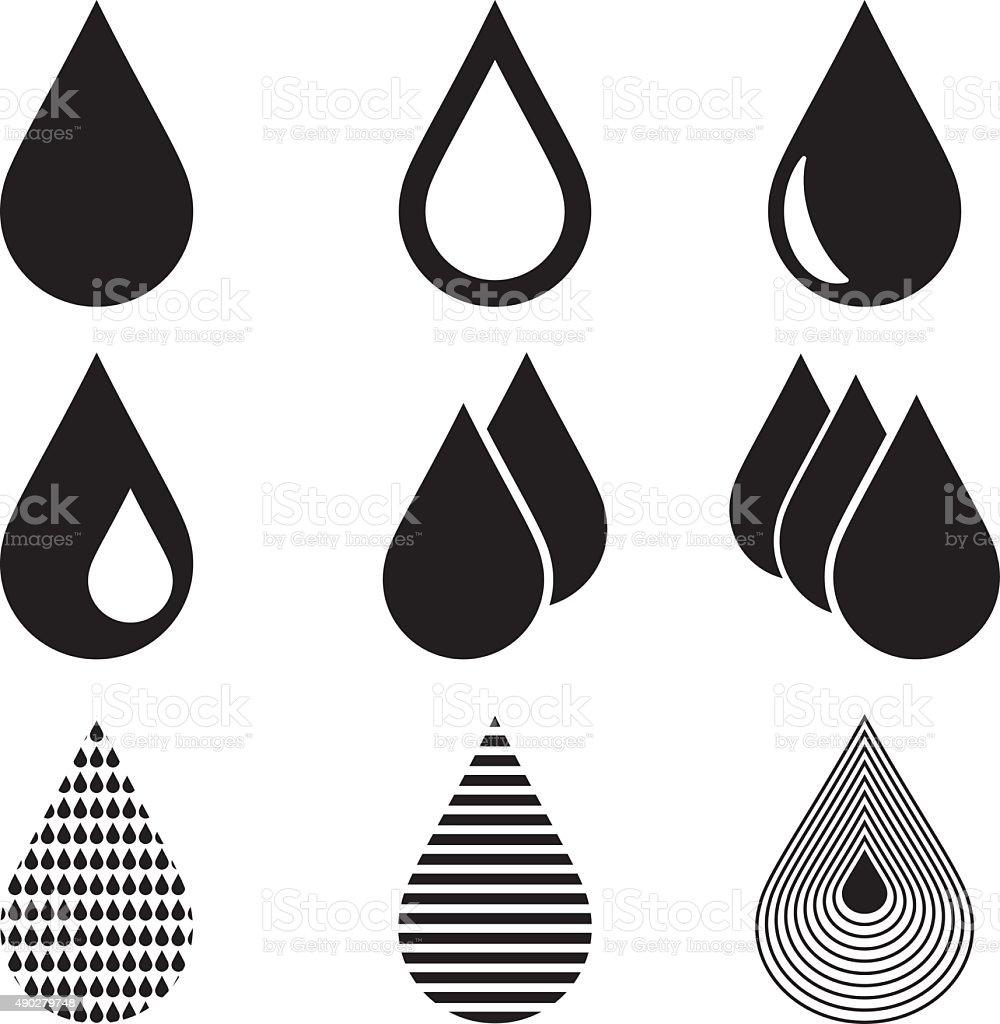 Water Drop Icons vector art illustration