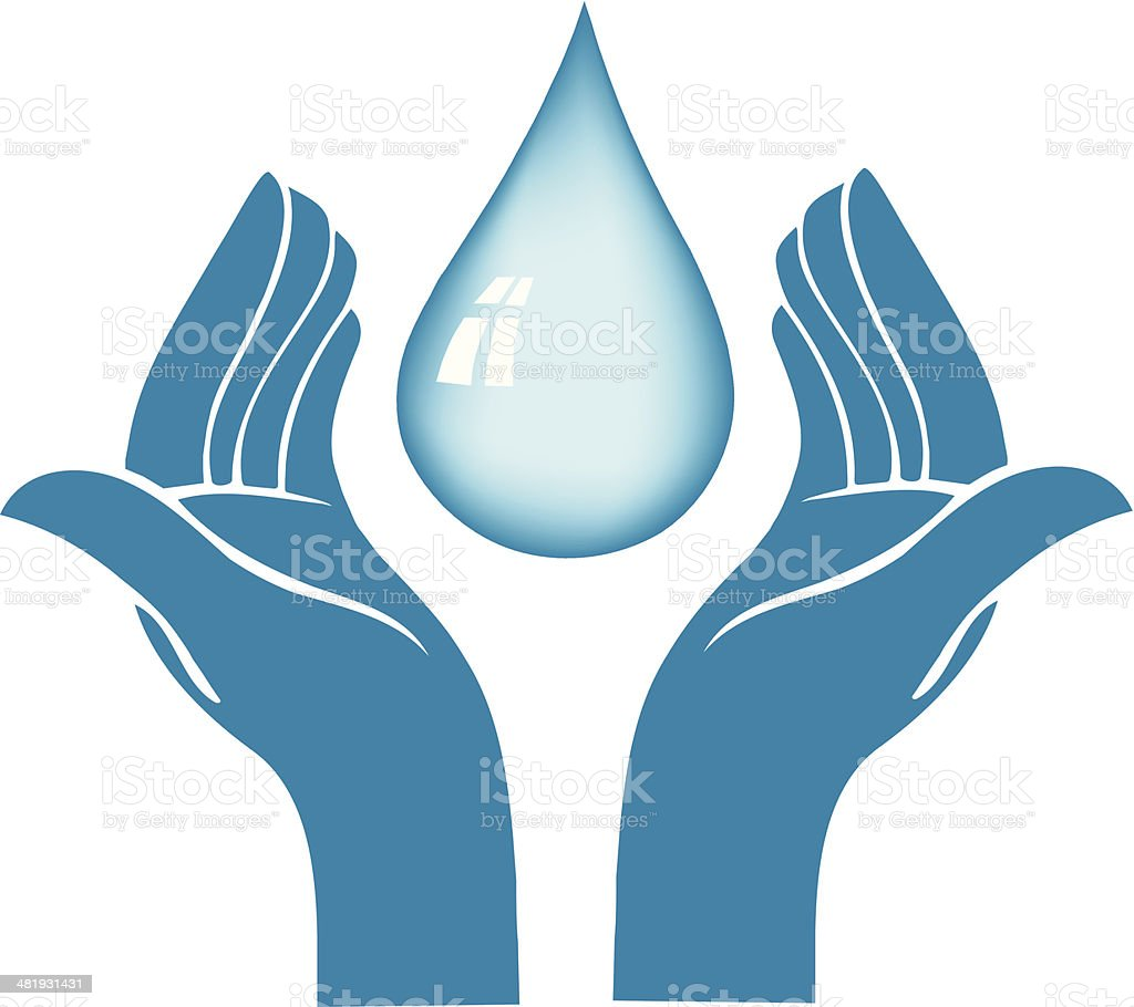 Water Drop in Palms royalty-free stock vector art