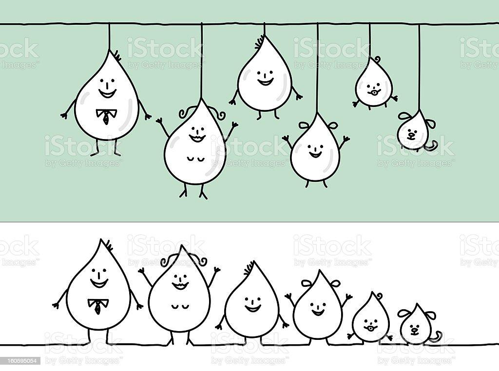 water drop shape family royalty-free stock vector art
