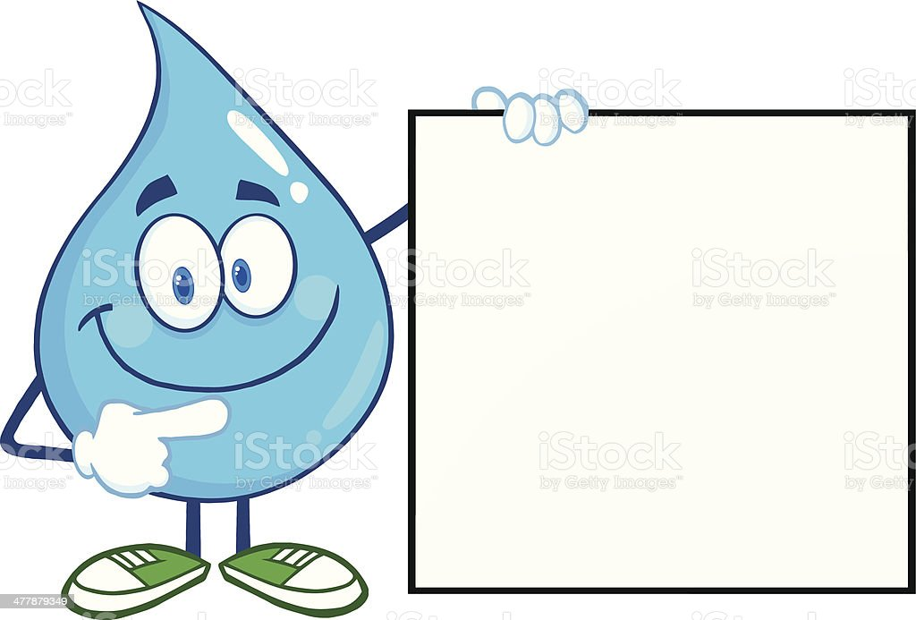 Water Drop Showing A Blank Sign royalty-free stock vector art