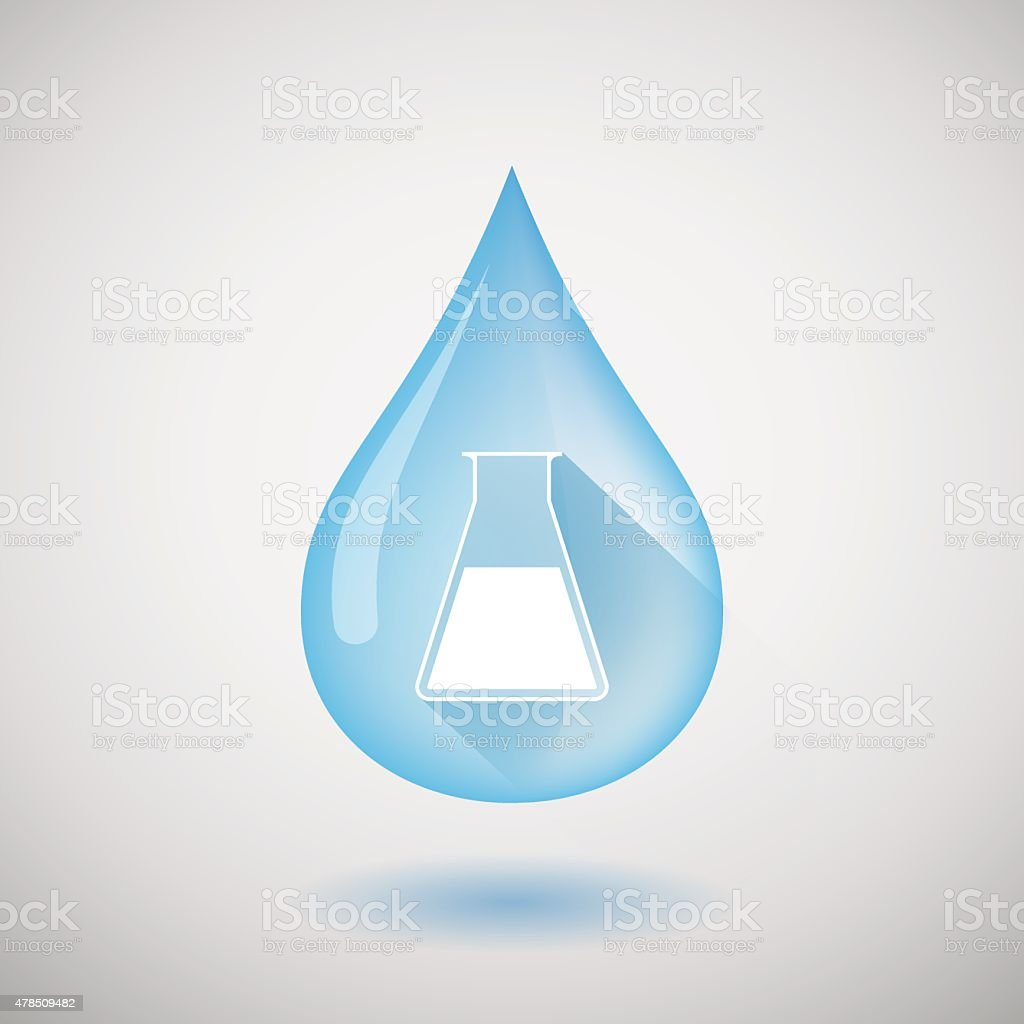 Water drop with a chemical test tube vector art illustration