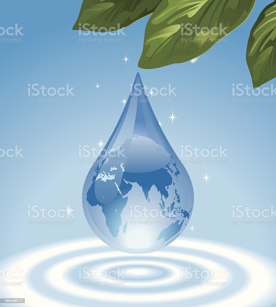 Water Drop with Superimposed World Map Vector vector art illustration