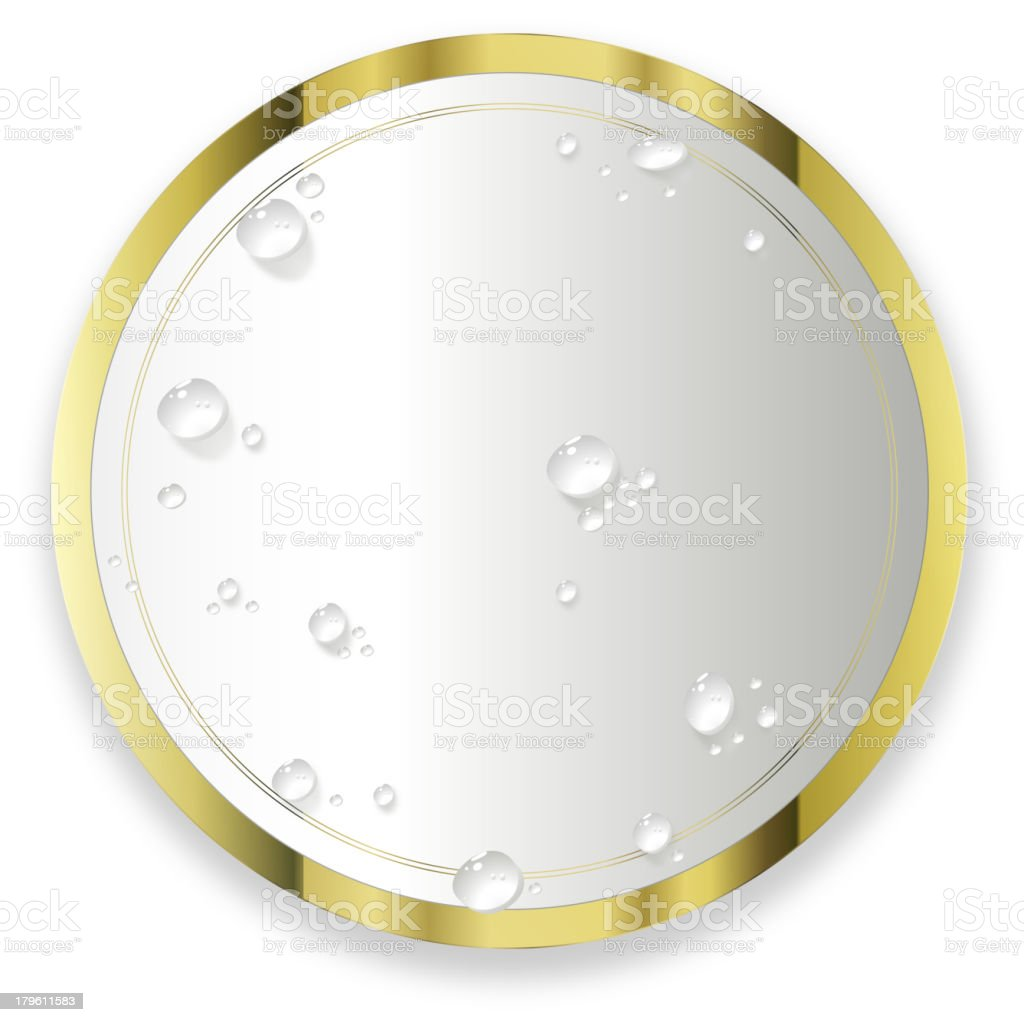 Water drops on The Round Label royalty-free stock vector art