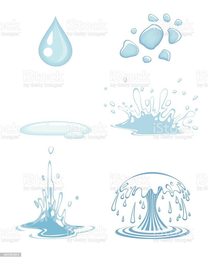 Water drops set vector art illustration